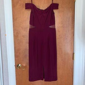 Xscape Dresses - Xscape Off-the-shoulder Plum Dress